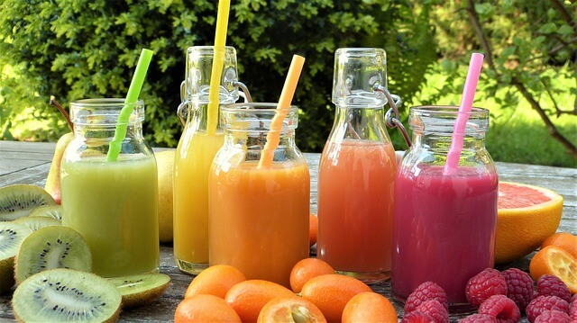 fresh fruit juice from a juicer