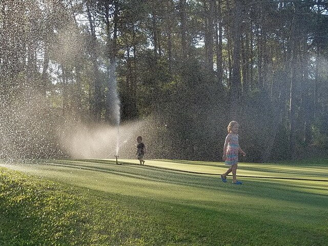 aerate grass with a sprinkler system
